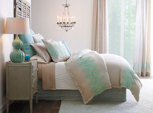 Echo Duvet Cover & Shams in 100% European Linen featured with Fountain Sheets & Quilt