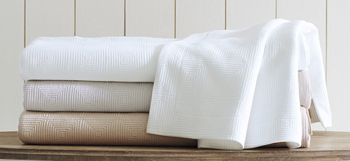 Ellora Matelasse in 100% Egyptian Cotton – white, platinum, & driftwood