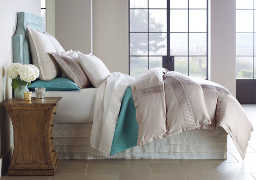Fountain Bedding – layered with sheets (ivory), quilt (lake), and pleated duvet cover (driftwood)