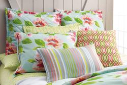 Peony & Prism Bedding with Edie Stripe & Dabney Pillows