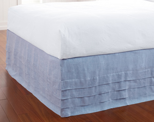 100% European Linen Waterfall Bed Panels Available in six colors: White, Ivory, Lake, Sun, Capri Blue & Willow