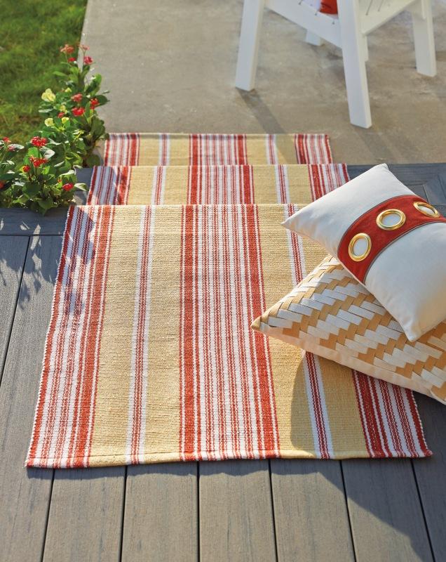 Khaki Stripe Outdoor Rug