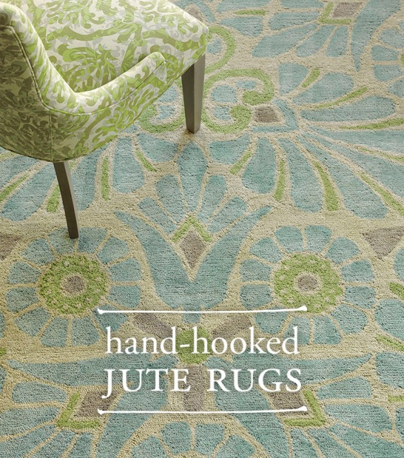 Hand-Hooked Jute Painted Medallion Rug
